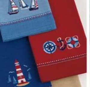Nautical Embroidered Dishtowel