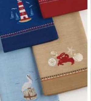 Crab Embroidered Dishtowel