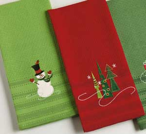 Snowman Embroidered Dishtowel