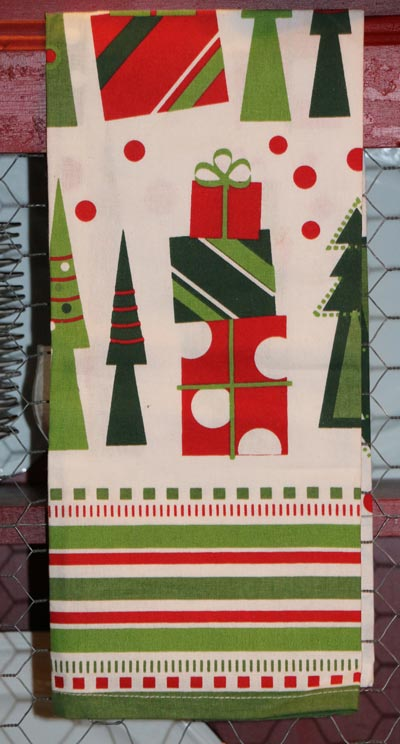 Presents and Trees Printed Dishtowel
