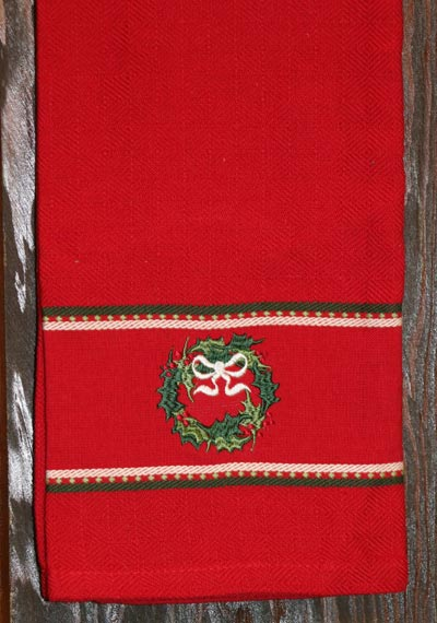 Wreath Embroidered Dishtowel