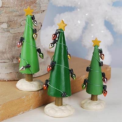 Christmas Trees with Lights (Set of 3)