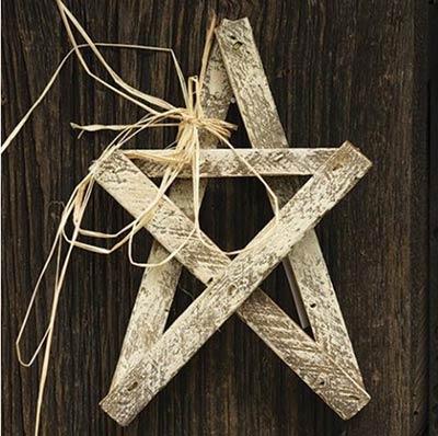 Whitewashed Wood Lath Star - 10 inch