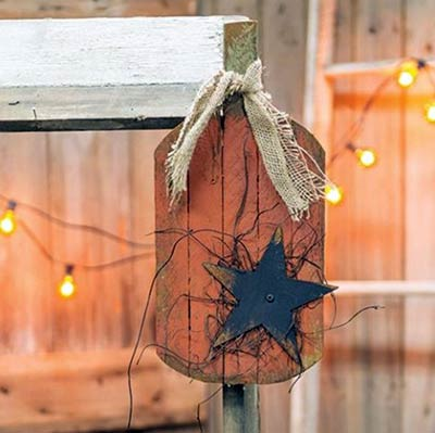 Lath Pumpkin Wall Hanger with Star - 16 inch