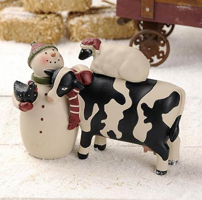 Snowman Holding Chicken with Cow