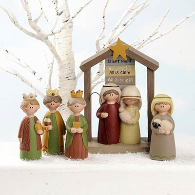 Nativity Family with Creche (Set of 5)