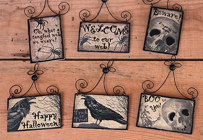 spooky halloween postcard picture ornaments set of 6 - Primitives By Kathy Halloween