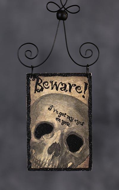 Beware Postcard Picture Ornament