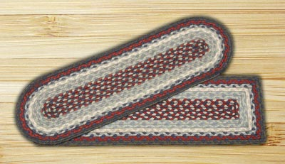 Blue and Burgundy Braided Jute Stair Tread - Oval