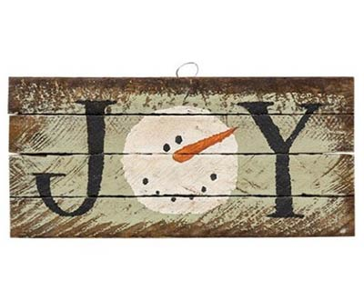 Joy Rustic Wood Sign with Snowman