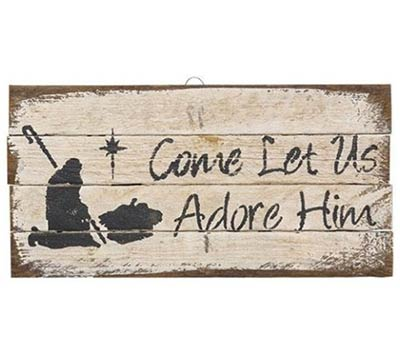 Let us Adore Him Rustic Wood Sign