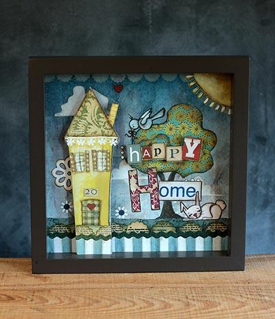 Happy Home Shadow Box Art