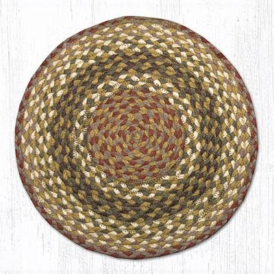 Olive and Burgundy and Gray Braided Jute Chair Pad