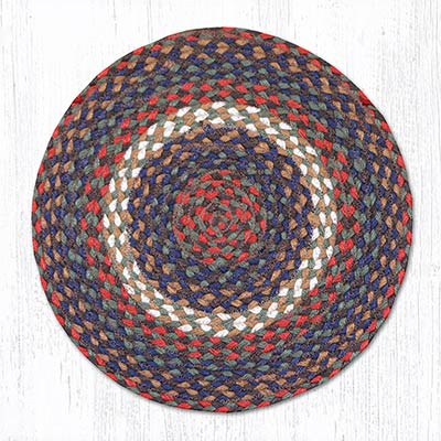 Burgundy and Grey Braided Jute Chair Pad