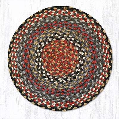 Burgundy, Blue, and Grey Braided Jute Chair Pad
