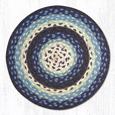 Blueberry and Creme Braided Jute Chair Pad