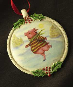 Skating Pig Ornament