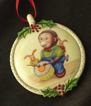 Drumming Monkey Ornament