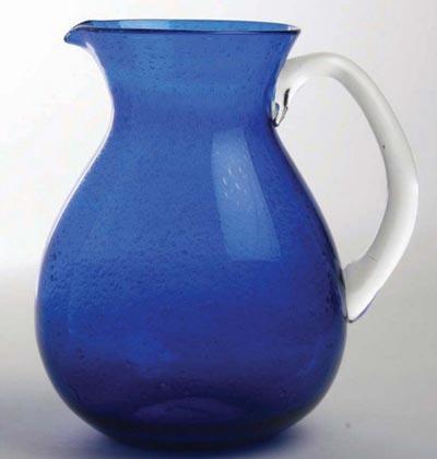 Cobalt Bubble Glass Pitcher