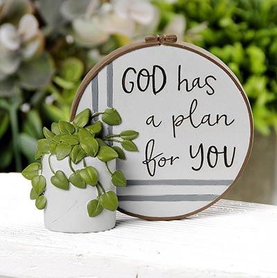 God Has a Plan For You Resin Stitchery Figurine