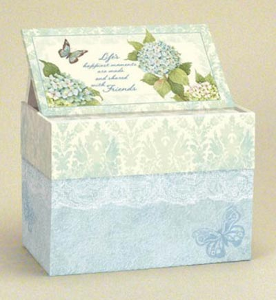 Blue Hydrangea Recipe Card Box