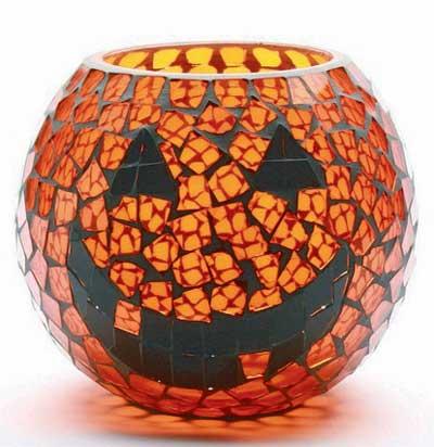 Pumpkin Mosaic Glass Hurricane