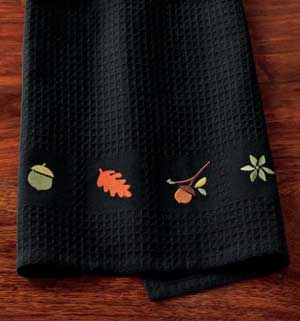 Leaves & Acorns Embroidered Waffle Weave Towel