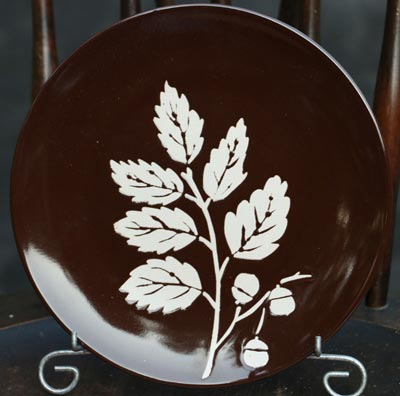 Fall Leaf Appetizer Plate - Brown