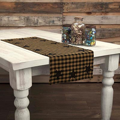 Black Star Table Runner, 36 inch (Black and Tan)