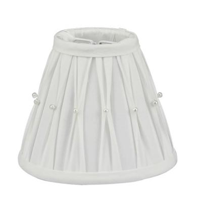 White Pleated Lamp Shade with Pearls - 5.5 inch