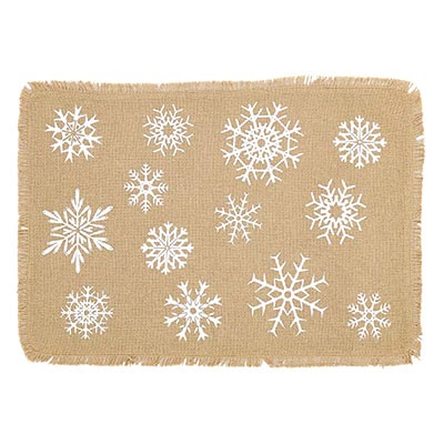 Snowflake Burlap Placemats (Set of 6)
