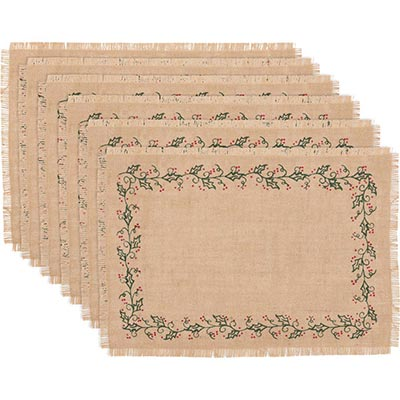 Jute Burlap Ivy Placemats (Set of 6)