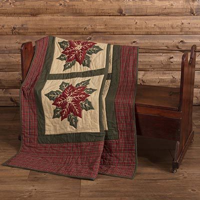 National Quilt Museum Poinsettia Block Quilted Throw