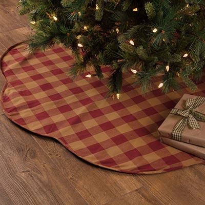 Burgundy Check Christmas Tree Skirt - 60 inch