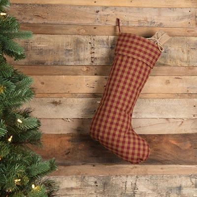 Burgundy Check Christmas Stocking
