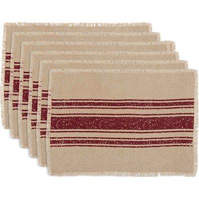 Vintage Burlap Stripe Red Placemats (Set of 6)