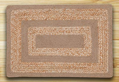 Raw Sugar & Natural Braided Jute Rug - 27 x 45 inch (OVAL)