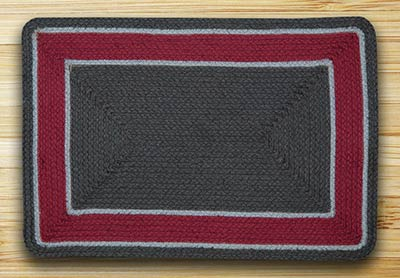 Graphite & Burgundy Braided Jute Rug - 20 x 30 inch (Rectangle)