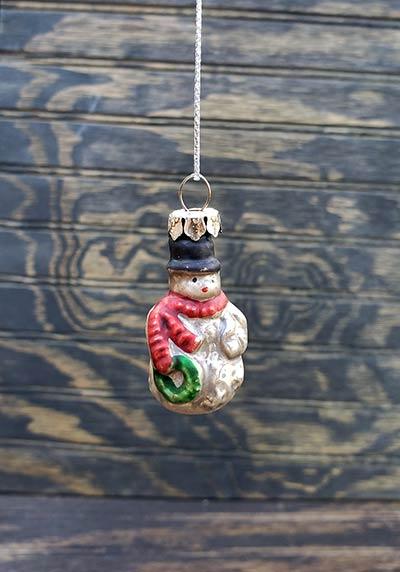 Snowman Mini Glass Ornament