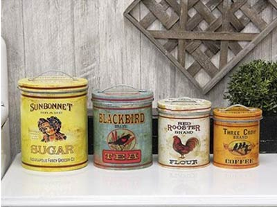 Country Farmhouse Metal Nesting Canisters (Set of 4)