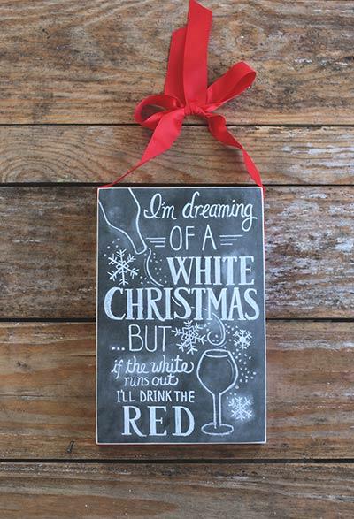 White Christmas Chalk Sign