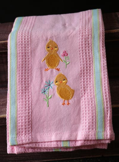Chicks Embroidered Dishtowel