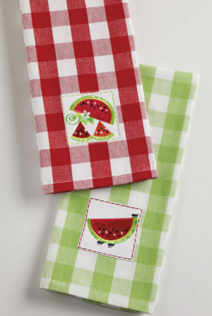Fresh Watermelon Embroidered Dishtowel