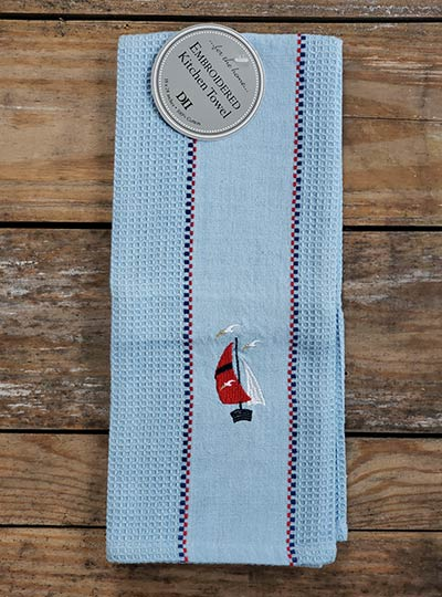 Sailboat Embroidered Dishtowel
