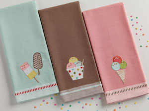 Ice Cream Sundae Applique Dishtowel