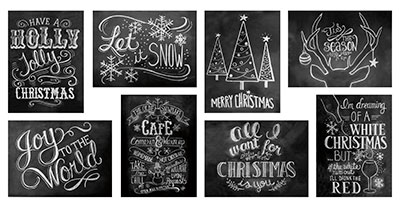 Chalk Christmas Notecards (Set of 8)