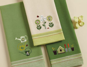 Watering Cans Embroidered Dishtowel
