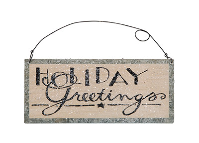 Holiday Greetings Tin Sign