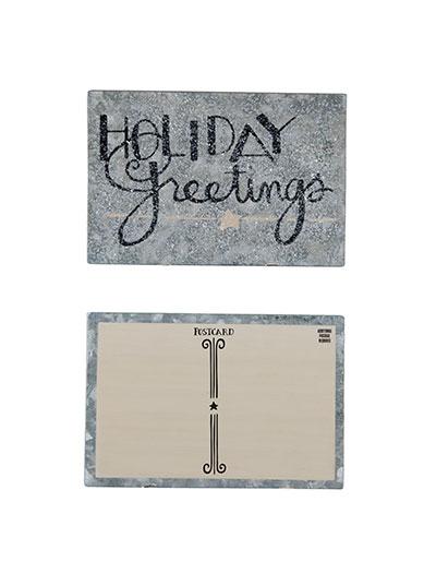 Holiday Greetings Tin Postcard