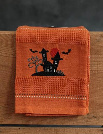 Haunted House Embroidered Dishtowel
